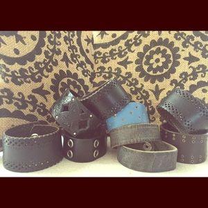 Jewelry - Funky repurposed leather cuff bracelets